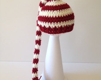 Red and White Christmas Elf Hat