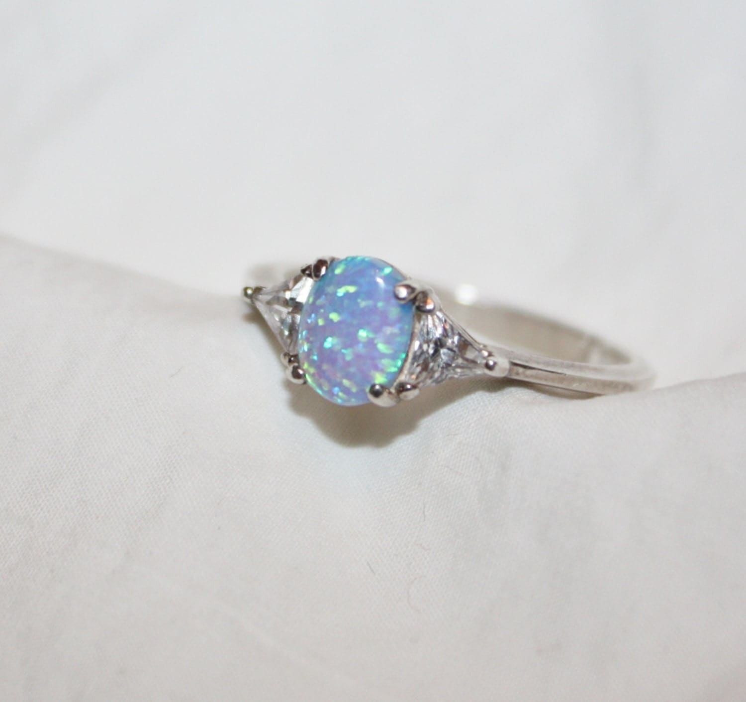 Sterling Silver Ring Fire Opal CZ Vintage 1960s Jewelry