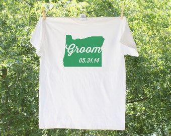 Oregon Groom with wedding date (can personalize with wedding colors)