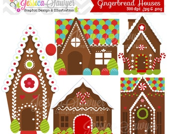 INSTANT DOWNLOAD, gingerbread house clipart or gingerbread man clip art for personal and commercial use