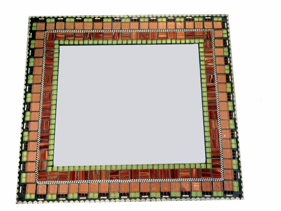 Mosaic Wall Mirror In Bronze Maroon Green By
