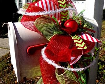 Christmas Garland - Deco Mesh Christmas Garland - Mailbox Garland - Chevron Ribbon - Holiday Mantle Decoration - Mailbox Swag