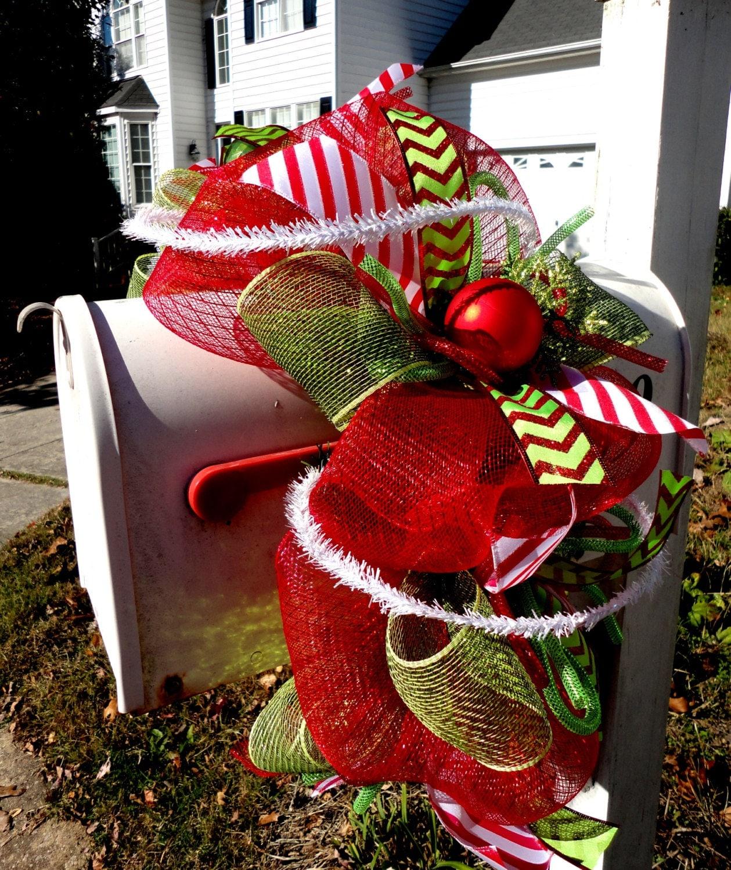 Christmas Swags Decorations: Christmas Garland Deco Mesh Christmas Garland Mailbox