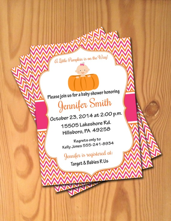 Custom baby shower invitations pink orange little pumpkin invites il570xn filmwisefo