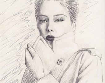 Coco R.  Original Art Print.  Pencil on Paper, Fashion Illustration, Model, Portrait, Ink, Coat, Vintage, Updo, Retro, Modern, Fun, Glam