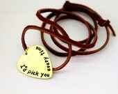 Personalized Guitar Pick -Hand Stamped Brass Guitar Pick - Mens Necklace