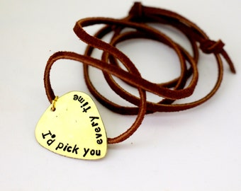 Personalized Guitar Pick -Hand Stamped Brass Guitar Pick - Mens Necklace, Christmas Gift