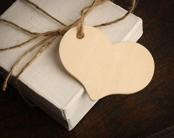 Wooden Heart Gift Tags - For Rustic Wedding, Shower Favors