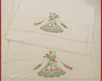 Vintage Southern Belle Embroidered Pillowcase Set
