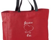 Wedding Gift for Bride Valentine Gift for Her Personalized Tote Bag Bride Groom Embroidery Custom Honeymoon Gift - cre8ivgifts