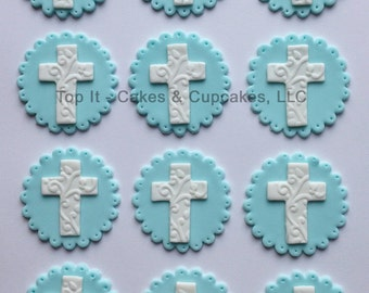 Fondant Cupcake Toppers - Fancy Crosses