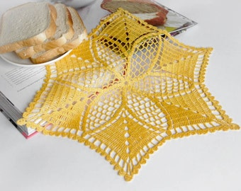 SALE 25% OFF: Crochet doily Yellow star doily Handmade linen crochet star Lace doily Crochet doilies