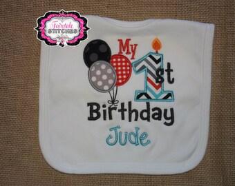 Candle Bib, Balloon Bib, Cake smash, Birthday bib, First birthday, First birthday bib, Birthday Gift, Boy Birthday Bib