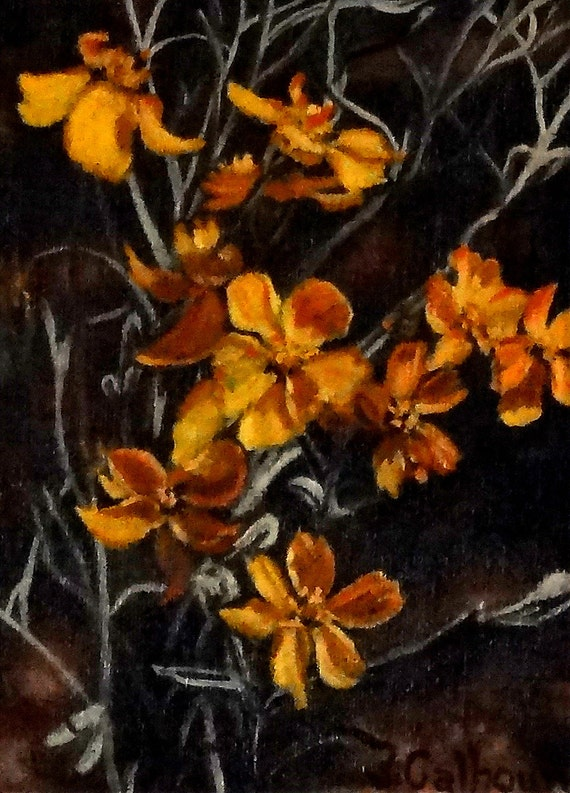 "Fine art 5 X 7 print of my original oil painting ""Paper Flowers"""