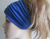 Cotton Yoga Headband Headwrap Bandana Headcover Sapphire Royal Blue Spring Summer Stretch Jersey