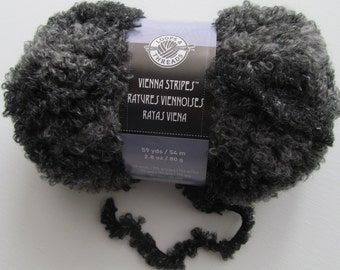 SALE Vienna Stripes Loops and Threads Graystone Yarn Wool Acrylic Boucle Loops Grey Fur Yarn
