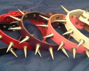 Leather Spiked Choker Necklace 20mm One Inch Spikes Choice of Colours Hand Made Real Leather Goth Punk