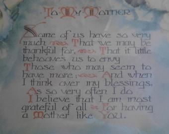 Vintage  1940s  Sentimental Poem for Mother Picture  ECS