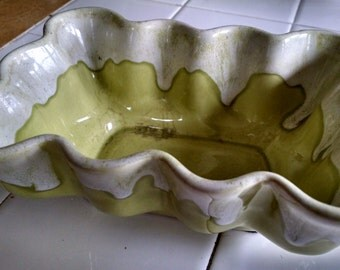 Light Green  50s Ceramic Flow- Glazed Planter