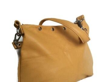 Cream purse - everyday leather hobo bag - lightweight small shoulder handbag - handmade design becky