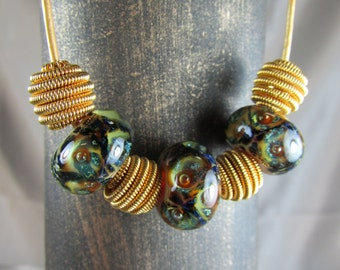 Lampwork glass and Vintage bead necklace with Leather cord