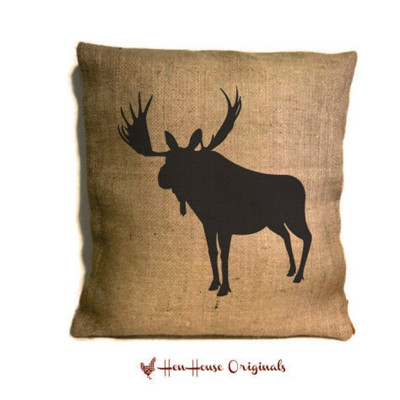 Moose Pillow Cover, Hunting Pillow, Rustic Home Decor, Cabin Decor, Moose Silhouette, Moose ...