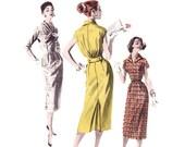 1950s Wiggle Dress Pattern, Butterick 8128, Sexy Sheath, Bloused Back & Optional Shawl Collar, Vintage Sewing Pattern, Bust 32, Uncut