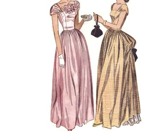 1940s Evening Gown Pattern, Simplicity 1983, Floor Length Formal Dress with Bustle Skirt, 1947 Vintage Sewing Pattern, Bust 30, Uncut