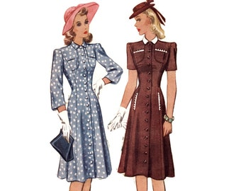 1940s Dress Pattern, McCall 4170, Princess Seams, Unusual Yoke & Inset Pocket Detail, Flared Skirt, 1941 Vintage Sewing Pattern Bust 32