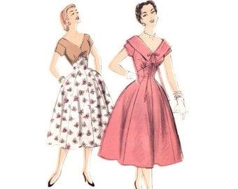 1950s Dress Pattern Advance 6725, V Neckline, High Waist Princess Seam Skirt, Optional Big Collar, Vintage Sewing Pattern Bust 30 Uncut