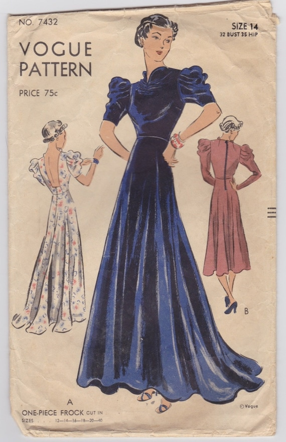 1930s Evening Gown Pattern Vogue 7432 Backless Dress