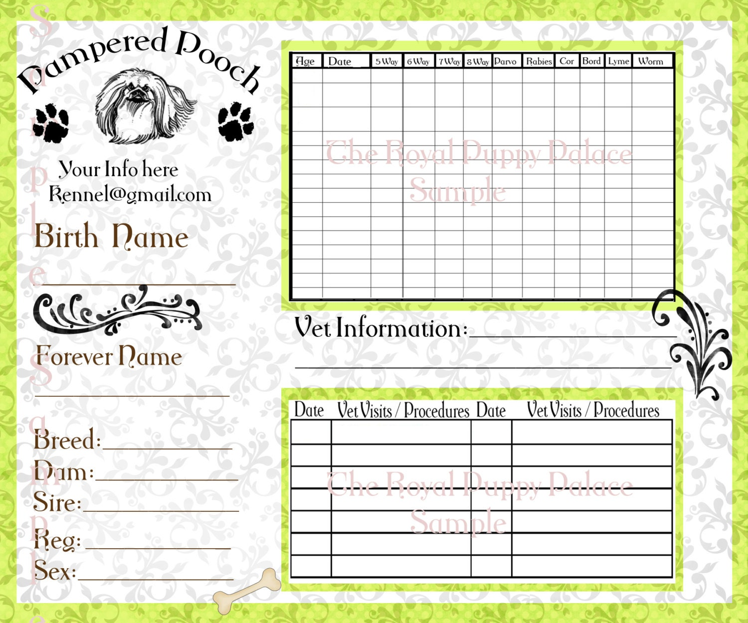 Pampered pooch green customizable vaccination cards for dog for Dog health record template