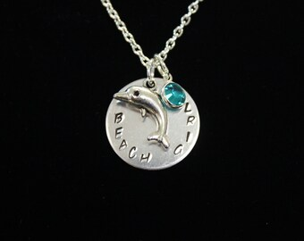 Beach Girl Hand Stamped Necklace with Silver Dolphin Charm and Swarovski Crystal Drop