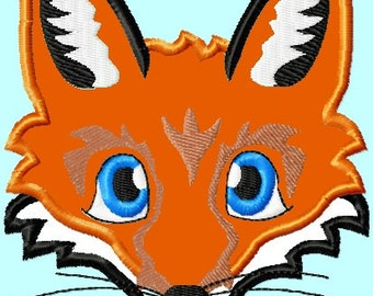 Fox Head Applique Embroidery Designs 3 sizes        INSTANT DOWNLOAD