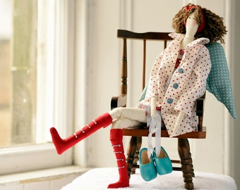 Tilda tall angel doll with shoes - handmade decoration