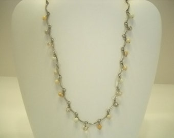 "Vintage Silver Tone 18"" Beaded Necklace (5431)"
