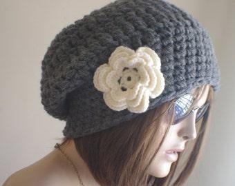 DARK GRAY Womens hat - chunky knit Slouchy dark gray and cream   Beanie Slouch Hat Fall Winter Accessories Beanie Autumn Christmas Fashion