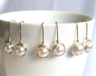 Bridesmaid White Pearl Set, Dangle Earings, Wire Wrapped Jewelry Handmade, Swarovski Pearl Earrings, Sterling Silver Wedding Jewelry