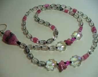 Pink Cat Lanyard Necklace, Pink Clear Lanyard Necklace, Nametag, Eyeglass Holder, Keychain Holder, Beaded Lanyard, Lampwork Cat Focal Bead