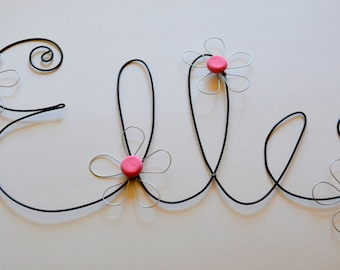 Custom Made Personalized Decorative Wire Sign - Elle with light pink beads