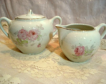 Vintage Sugar and Creamer Pink Rose Shabby Cottage Chic Milk and Sugar