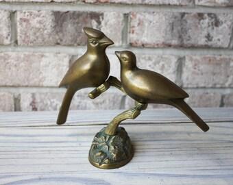 vintage brass birds on tree branch stand