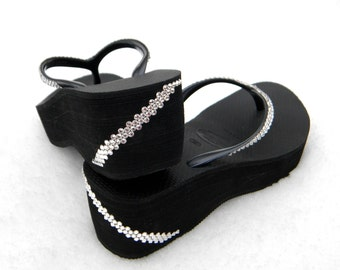 "Custom High Wedge Havaianas Crystal Flip Flops w/ Swarovski Rhinestone Bling Jewels  2.5"" Platform Heel Angel Wrap Black Thong Party Shoes"