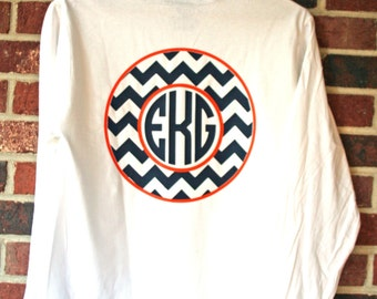 Short Sleeve Monogram Chevron T Shirt Personalized Custom You choose colors!