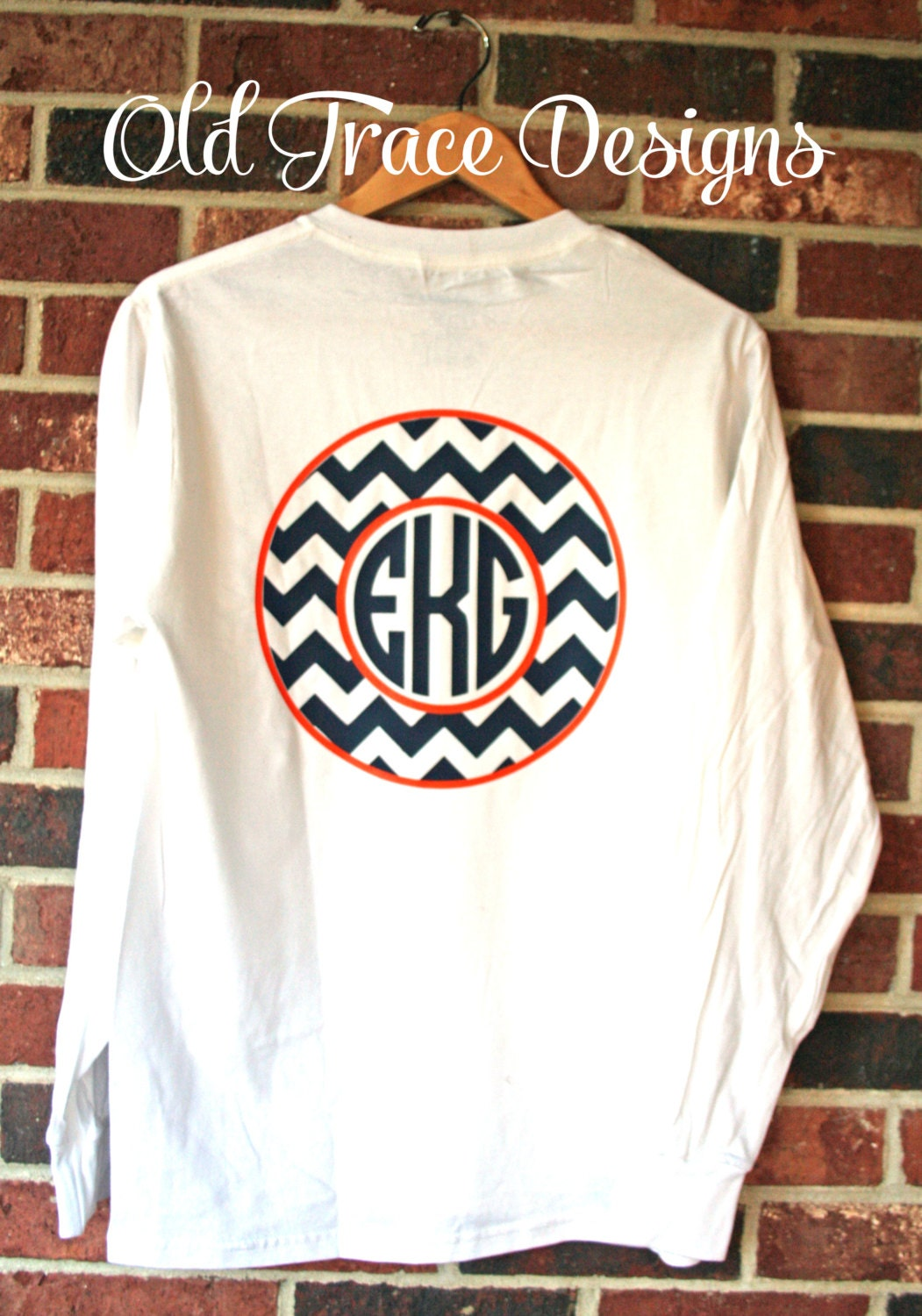 Long sleeve monogram chevron t shirt personalized by oldtrace for Long sleeve custom t shirts