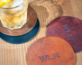 Personalized Leather Coaster Set, Leather set of Coasters, Custom Coasters, Man Cave, Wedding Gift, Groomsmen Gift