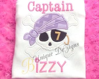 Girls Pirate Skull and Crossbones Shirt, Girls Applique Birthday Shirt, Captain Shirt or Bodysuit, Pirate Shirt