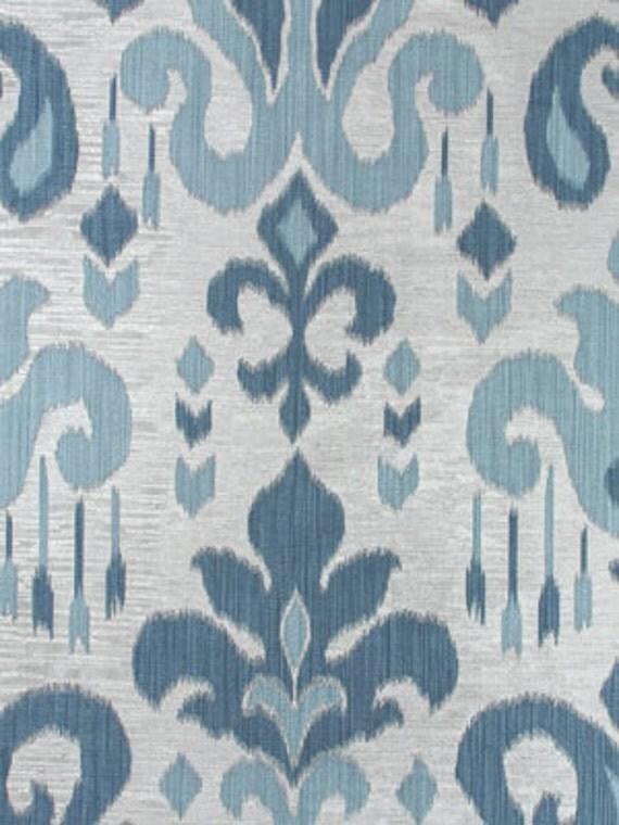 Light Blue Ikat Upholstery Fabric Indigo Blue Large