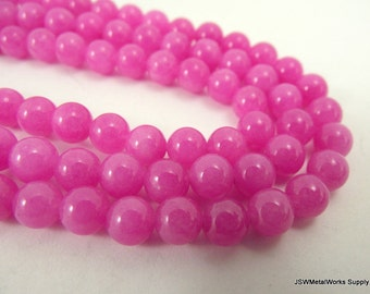 Mountain Jade Round Beads, Fuchsia, Pink, 6mm, 16 Inch Strand, Whole Strand