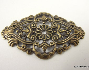 Antiqued Gold Plated Filigree Focal, 59x35mm, 6 Pieces